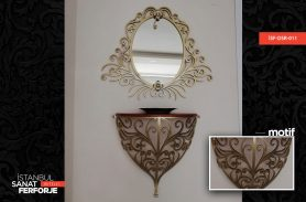 Gold Mirror Detail Wrought Iron Dresuar