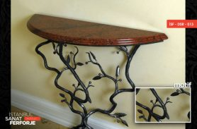 Special Design Wooden Detail Burgu Wrought Iron Dresuar