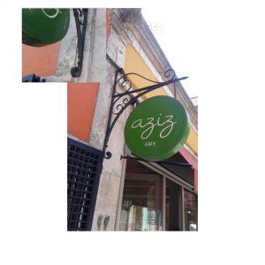 Aziz Cafe & Restaurant için hazırladığımız ferforje tabela.