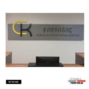 CK Karaağaç Hukuk ve Danışmanlık Bürosu için özel hazırlanan Ferforje Tabela modelimiz.