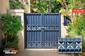 Sheltered Double Wing Wrought Iron Garden Gate