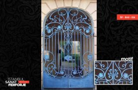 Double Winged Blue Wrought Iron Door