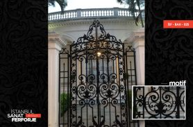 Black Double Wing Wrought Iron Garden Gate