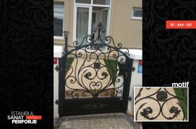 Wrought Iron Garden Gate with Daisy Flower Pattern