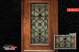 Wooden, Rose Patterned Wrought Iron Door
