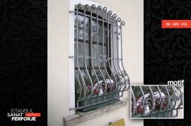 Gray Color Curved, Stylish, Wrought Iron Window Railing
