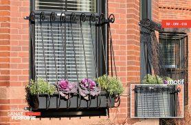Curved, Elegant Wrought Iron Window Railings