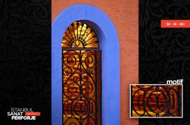Black, Glass Detail Wrought Iron Door