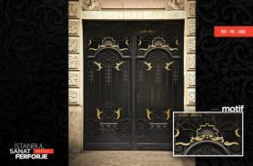 Gold Decorated, Glass Detail Wrought Iron Door