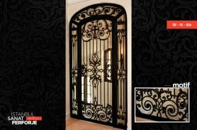 Black, Cross Detail Wrought Iron Door