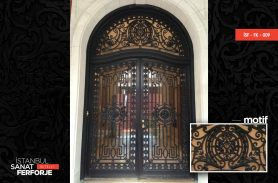 Black, Motif Wrought Iron Door