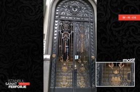 Yellow and Black Colored, Patterned Wrought Iron Door