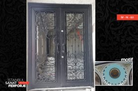 Double Winged, Glass Detail Wrought Iron Door