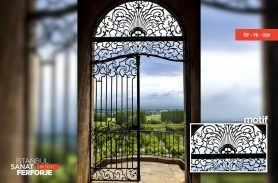 Ornate Black Color Wrought Iron Gate