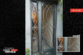 Glass Detail, Curved Wrought Iron Door