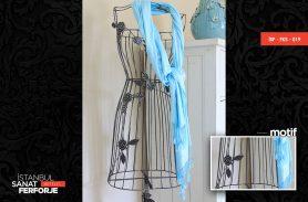 Gül Detaylı Ferforje Elbise Askılığı