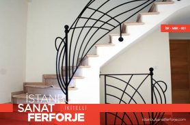 Modern Line Motif Wrought Iron Stair Railing