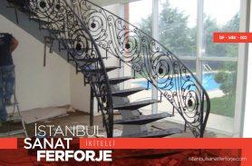 Çiçek Desenli Modern Ferforje Merdiven Korkuluğu