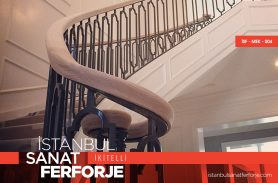 Wooden Handle, 2020, Modern, Wrought Iron Stair Railing