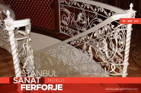 White Motif Wrought Iron Stair Railing