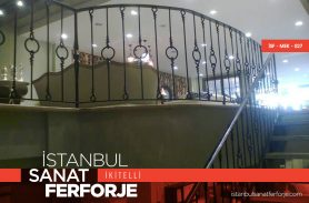Modern Ring Detail Wrought Iron Stair Railing