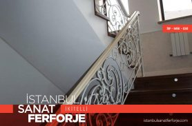 Classic Wood Detail Wrought Iron Stair Railing
