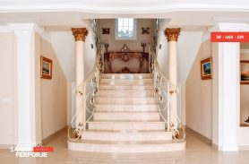 White Elegant Wrought Iron Stair Railing