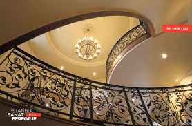Black, Leaf Motif, Kiosk, Wrought Iron Stair Railing