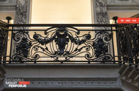 Black Leaf Pattern Wrought Iron Stair Railing
