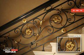 Altın İşlemeli Zarif Papatya Ferforje Merdiven Korkuluğu