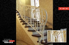 White Classic Wrought Iron Stair Railing