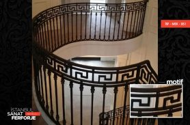 Versace Pattern Wrought Iron Stair Railing