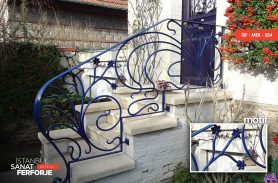 Wrought Iron Stair Railing with Blue Flower Motifs