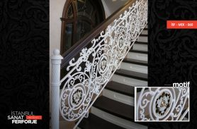 White Versace Patterned Kiosk Wrought Iron Stair Railing