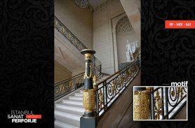 Altın İşlemeli Köşk Ferforje Merdiven Korkuluğu