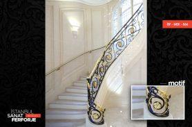 Zarif Tasarım Altın İşleme Ferforje Merdiven Korkuluğu