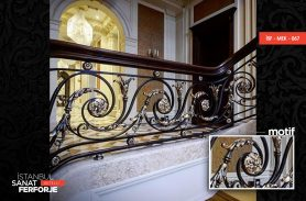 Wooden Detailed Flower Pattern Wrought Iron Stair Railing