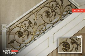 Wrought Iron Stair Railing with Daisy Motif