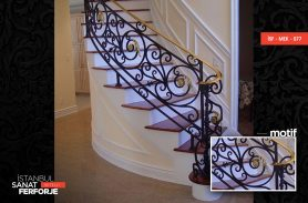 Gold inlaid Modern Wrought Iron Stair Railing