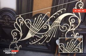 White Embroidered Wrought Iron Stair Railing