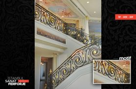 Gold Ornament Wrought Iron Stair Railing