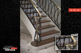 Round Detailed Gold Ornament Wrought Iron Stair Railing