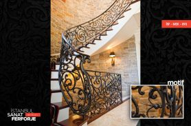 Modern Embroidered Villa Wrought Iron Stair Railing