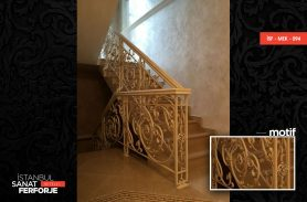 Wrought Iron Stair Railing with White Ivy Pattern
