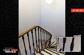 Wooden Detail Elegant Wrought Iron Stair Railing