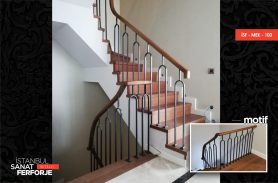 Parallel Wrought Iron Stair Railing With Wooden Handle