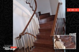 Wooden Villa Wrought Iron Stair Railing