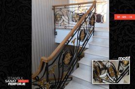 Altın İşleme Ahşap Detay Ferforje Merdiven Korkuluğu