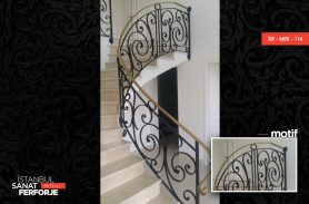 Ivy Patterned Wrought Iron Stair Railing