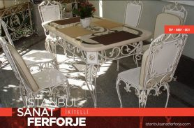 White Elegant Wrought Iron Table and Chairs